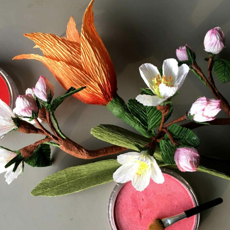 tulipan æblegren panpastel crepepapirblomster